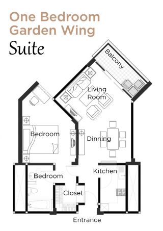 Layout Garden Wing Suite One Bedroom